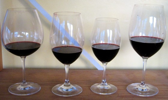 Does glass shape affect aroma and flavor? Today's wine four different ways: (from left) pinot noir, large all-purpose, small all-purpose, cabernet sauvignon. - DAVE NELSON