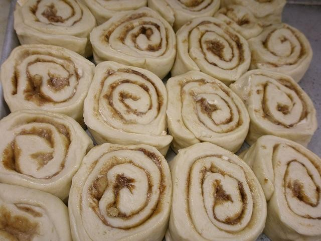 The cinnamon rolls, er, rolled and ready to go in the oven. - ROBIN WHEELER