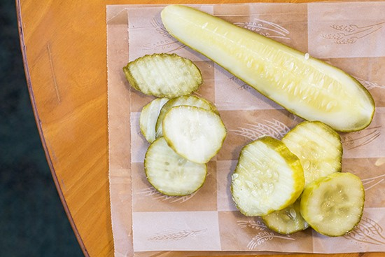 Three kinds of pickles.