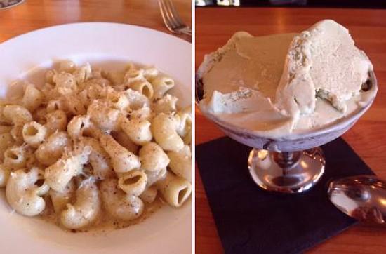 """Canestri cacio e pepe"""" (left) and house-made pistachio gelato (right) at Pastaria. - EVAN JONES"""