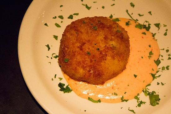 Potato and mozzarella croquette.