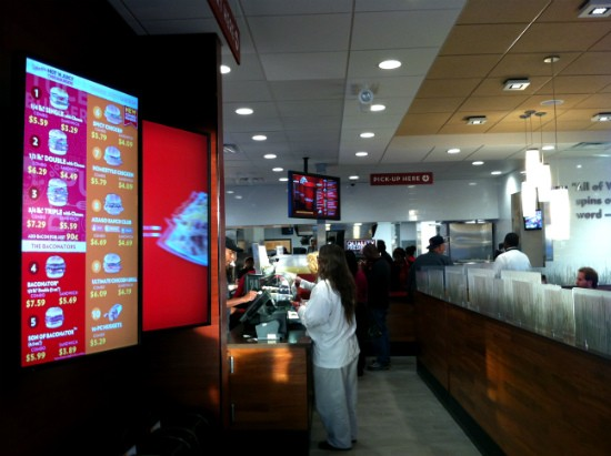"Wendy's new digital ""menuboards"" and ordering process. - LIZ MILLER"