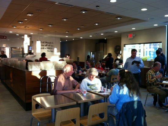 "The dining room at new ""ultra modern"" Wendy's. - LIZ MILLER"