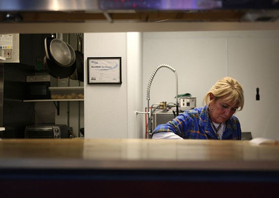 Owner Jean Ann Mantia inside the kitchen of Schoemehl's South Side Grill - KRISTAN LIEB