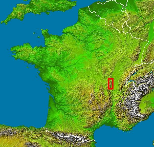 The Beaujolais region is bracketed in red. - NASA, VIA WIKIMEDIA COMMONS