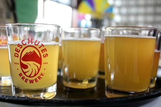 Samples of Deschutes Brewery's Chainbreaker White IPA. - IMAGE VIA