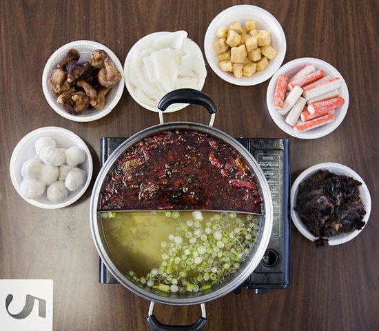 Ingredients for a hot-pot meal at Famous Szechuan Pavilion - JENNIFER SILVERBERG