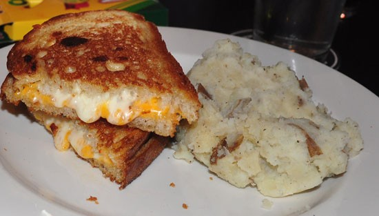 Grilled cheese with garlic herb smashed potatoes at The Crow's Nest - TARA MAHADEVAN