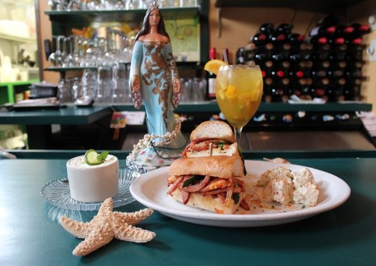 Linguiça Jobim sandwich with Yemanja Brasil potato salad and a lime mousse dessert. - MABEL SUEN
