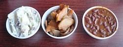 Sides at Vernon's: potato salad, smoked pears, baked beans | Tara Mahadevan