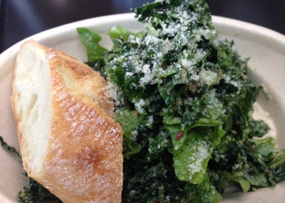 Tuscan kale and baby arugula salad with pecorino, red pepper flakes and lemon-anchovy dressing. | Nancy Stiles