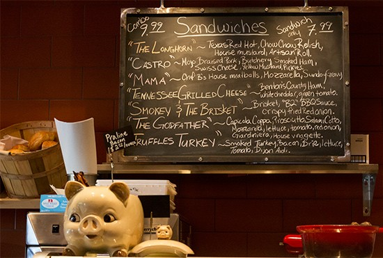 The sandwich menu.