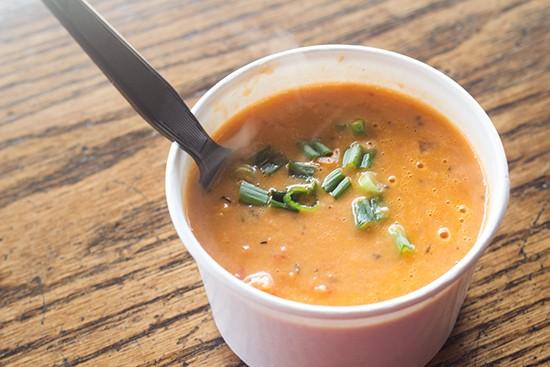 Roasted-garlic tomato soup.