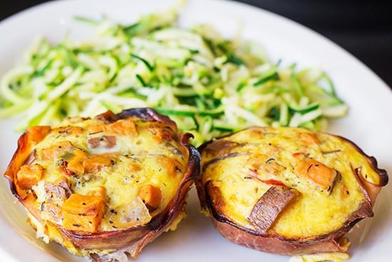 """The Corner Cup's """"Ham and More"""" muffin with string zucchini. - PHOTOS BY MABEL SUEN"""