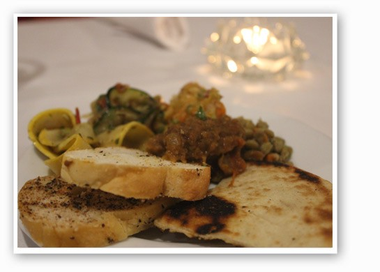 A bevy of appetizers, including zaaluk, Moroccan salad and vegetables. | Nancy Stiles