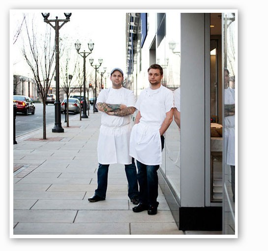 Gerard Craft and Adam Altnether outside Pastaria. | Jennifer Silverberg