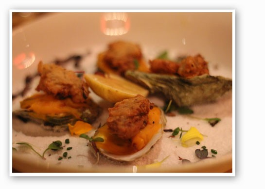 Pan-fried Naked Cowboy oysters with butternut squash and bacon salad. | Nancy Stiles