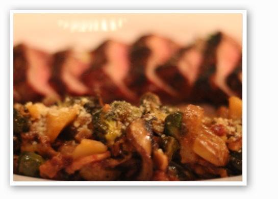 Wild mushroom brussel sprout hash and cabernet vinegar. | Nancy Stiles