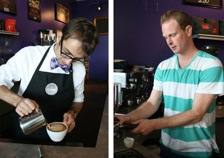 Mark Attwood pours a latte and Zach Althaus prepares to pull an espresso shot. - CHRISSY WILMES
