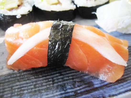 Salmon nigiri sushi at Nobu's - IAN FROEB
