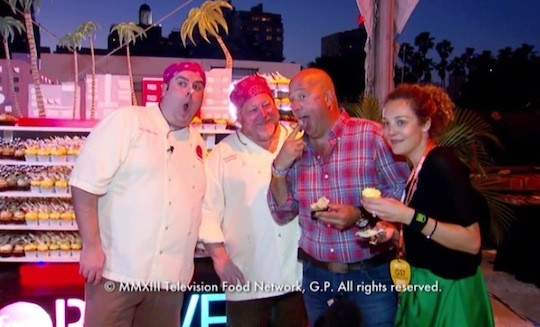 Chefs Casey Shiller, Dana Holland, Andrew Zimmern and some chick | Food Network