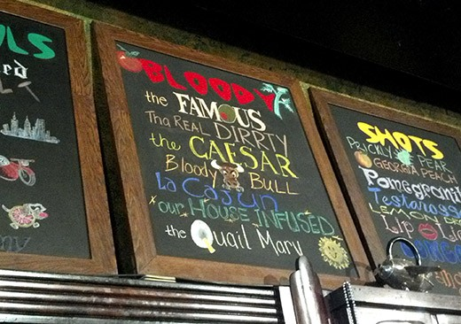 The bloody mary menu at The Famous Bar - KAITLIN STEINBERG