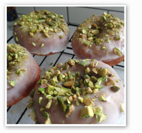 Buttermilk cake doughnuts with lemon icing and pistachio topping.   Brian Marsden
