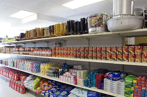 Personal favorite, the row of canned beans and cowboy boots! See photo slide show here. - PHOTO: JENNIFER SILVERBERG