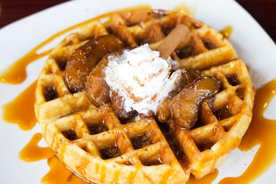 "Cabana on the Loop's ""Apple Caramel Sweetheart"" waffle.   Photos by Mabel Suen"
