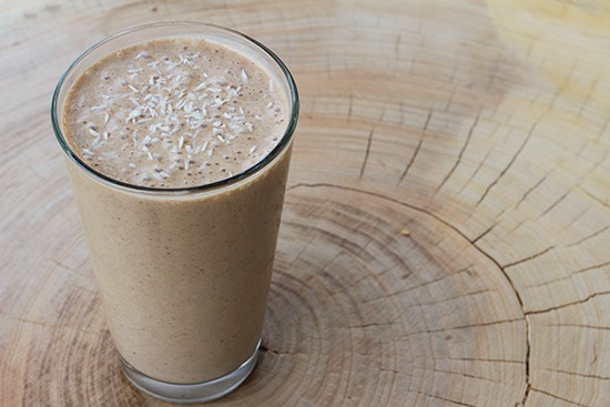 """Incredible"" smoothie with banana, almond, maca and cacao."