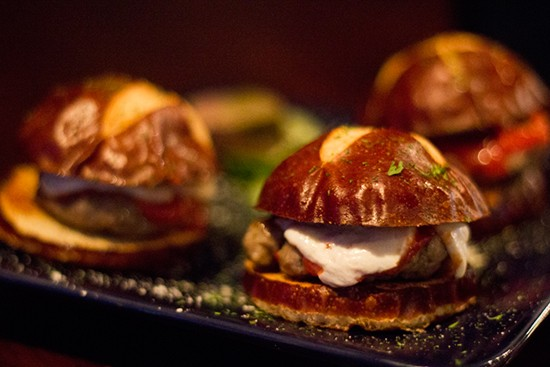 Sausage sliders with mozzarella and tomato sauce at Van Goghz.   Photos by Mabel Suen
