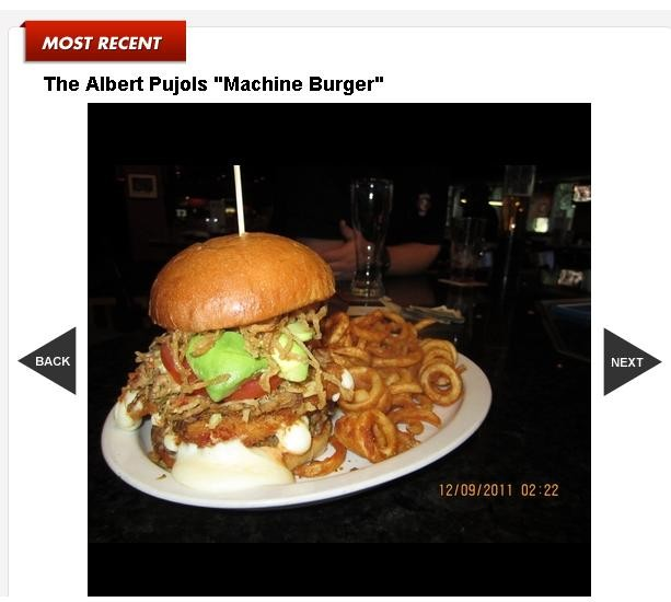 "The Albert Pujols-inspired ""Machine"" burger - SCREENSHOT: WWW.TMZ.COM"