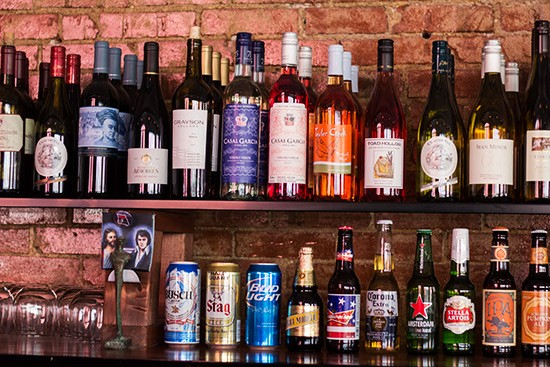 A selection of wine and beer.