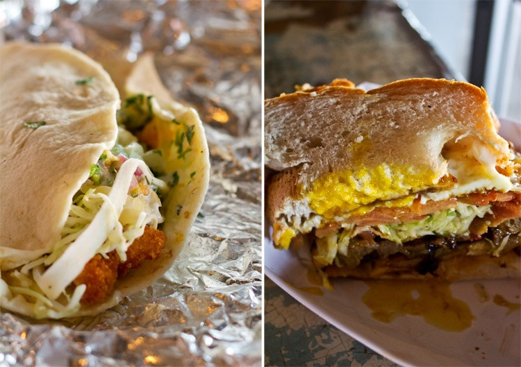 "A baja-fish taco with breaded tilapia, buttermilk dressing and guacamole; half of a ""shack-wich"" stuffed with steak, bacon and egg. - MABEL SUEN"