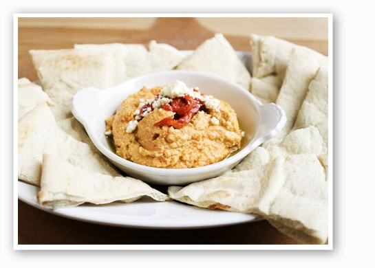 The roasted red pepper hummus can also be ordered with fresh veggies. | Jennifer Silverberg