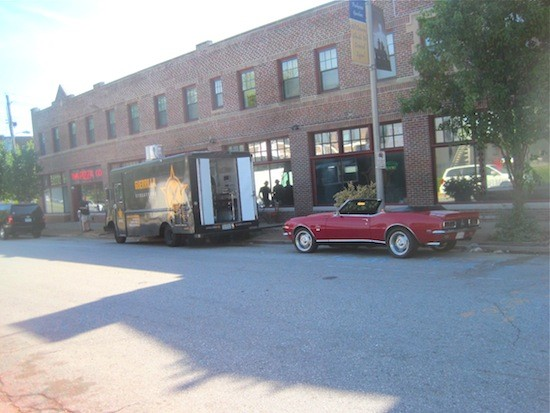 Guerrilla Street Food and Guy Fieri's ride parked in the Delmar Loop this morning - IAN FROEB