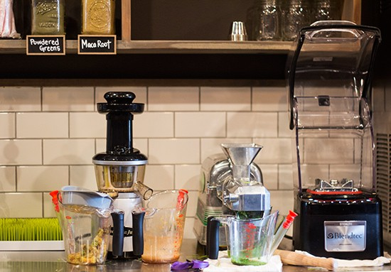 Juicing devices behind the counter.