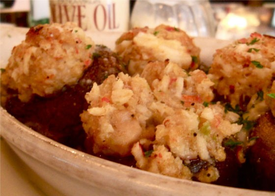 Seafood-stuffed mushrooms at Zia's. | Ettie Berneking