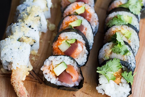 """Crunch,"" ""Crazy"" and ""Mexican"" sushi rolls."