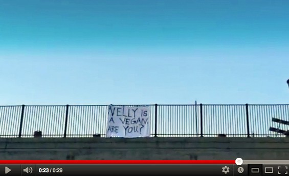 Yes they did! Vegan activists know Nelly's not one of them, but apparently all's fair in love and banner drops.