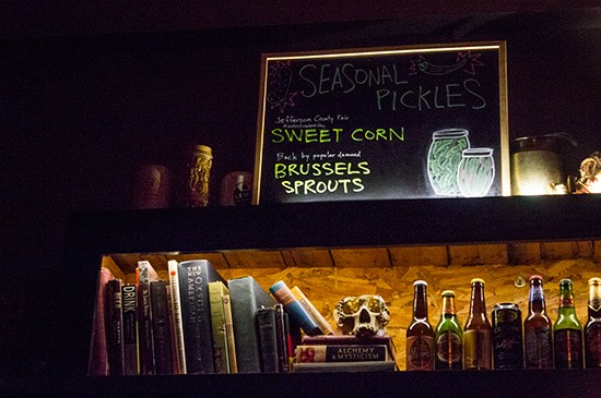 The bar offers seasonal pickles.