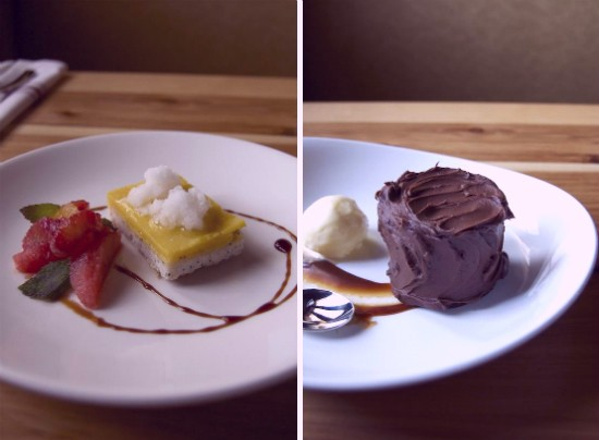 Meyer lemon tart (left) with heirloom citrus, pomegranate molasses and elderflower sorbet and chocolate split layer cake (right) with smoked caramel and buttermilk ice cream. - LIZ MILLER