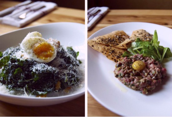 Black kale salad (left) with lemon anchovy vinaigrette and soft boiled farm egg and steak tartare (right) with traditional accompaniments and flatbread. - LIZ MILLER