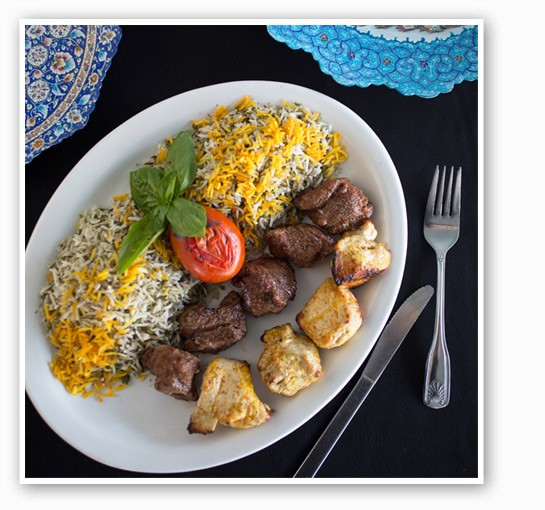 Beef chicken shish kabob with dill herb rice. | Jennifer Silverberg