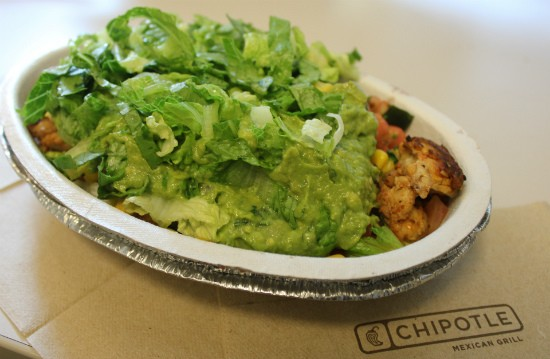 The chicken burrito bowl Chipotle sold to Gut Check. - LIZ MILLER