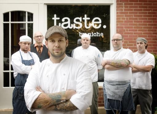 The crew, starting in front, going clockwise: Gerard Craft, chef de cuisine Adam Altnether, mixologist Ted Kilgore, cook Nick Blue, pastry chef Matthew Rice and sous chef James Peisker. - JENNIFER SILVERBERG