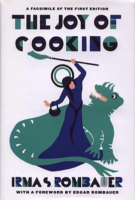 The original 1931 Joy of Cooking. The cover, designed by Marion, depicts St. Martha of Bethany, the patron saint of cooking. - THEJOYKITCHEN.COM