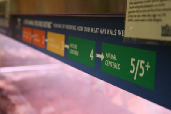 A Whole Foods meat case displays the new standards spectrum. - CHRISSY WILMES