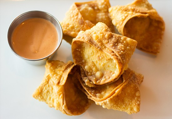 Lobster wontons with Sriracha-lemon aioli.