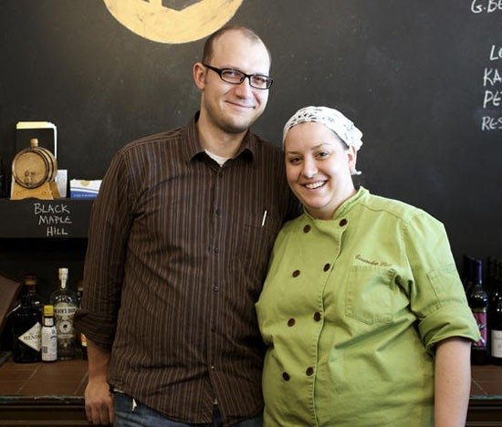 Husband-and-wife owners of Home Wine Kitchen, Josh Renbarger and chef Cassy Vires. - JENNIFER SILVERBERG
